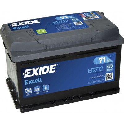 Аккумулятор EXIDE Excell EB712 71Ah 670A