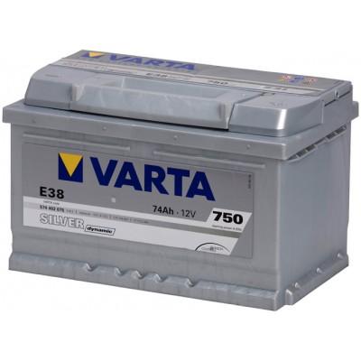 Аккумулятор VARTA SILVER Dynamic E38 574402075 74Ah 750A 12V