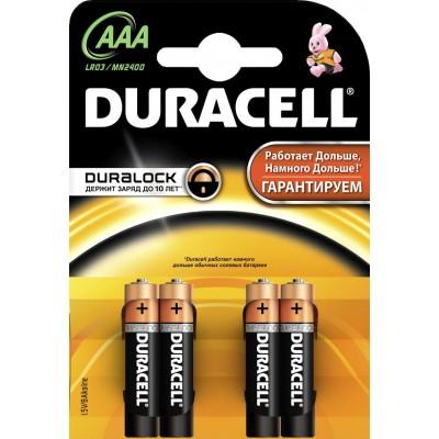Алкалиновые батарейки Duracell ААА 1.5v LR03 4шт