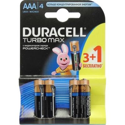 Алкалиновые батарейки Duracell Turbo Max ААА 1.5v LR03 4шт