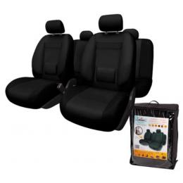 Комплект универсальных чехлов для сидений авто MONRO 11 предм. повышенной комфортности (велюр, черные)
