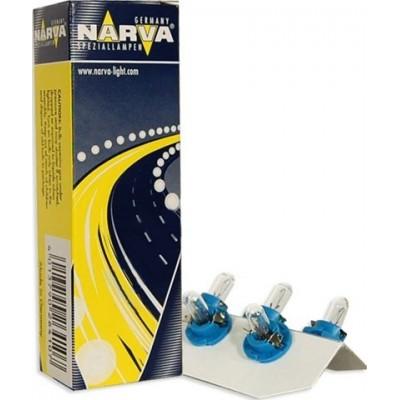 Комплект автоламп NARVA 17027 12V-1,2W (BX8,4d) голуб. 10шт.