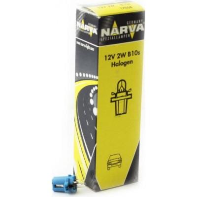 Комплект автоламп NARVA 17058 12V-2W (BAX10s) голубая 10шт.