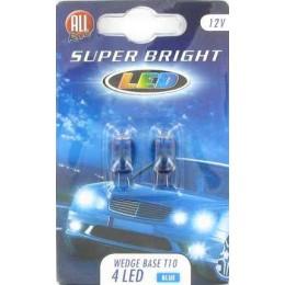 Комплект светодиодных безцокольных автоламп T10W 2шт. Blue 12V All Ride