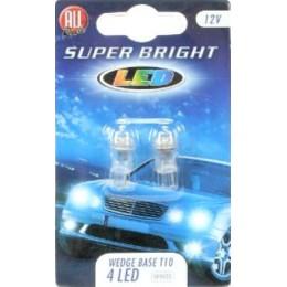 Комплект светодиодных безцокольных автоламп T10W 2шт. WHITE 12V All Ride