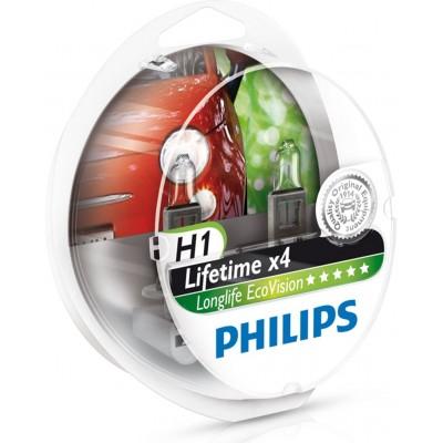 Комплект автоламп PHILIPS 12258LLECOS2 H1 12V 55W LONGLIFE ECOVISION