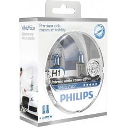 Комплект автоламп PHILIPS 12258WHVSM H1 12V 55W WhiteVision +60%