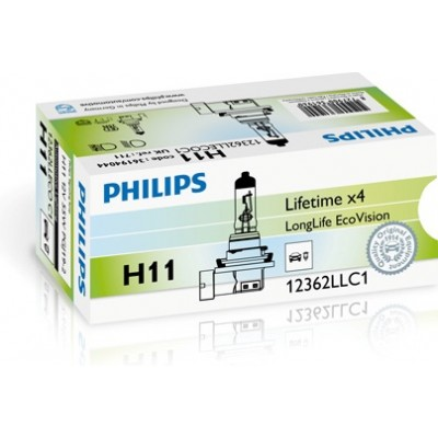 Автолампа PHILIPS 12362LLECOC1 H11 12V 55W LongLife EcoVision