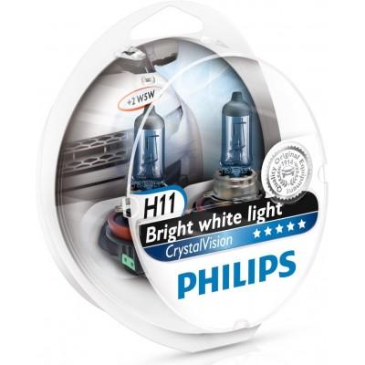 Комплект автоламп PHILIPS 12362CVSM H11 + W5W Crystal Vision 4300K 4шт
