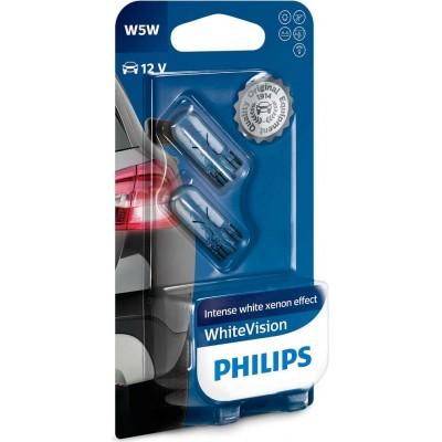 Комплект автоламп PHILIPS 12961NBVB2 WhiteVision W5W 12V-5W 2шт