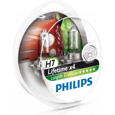 Комплект автоламп PHILIPS 12972LLECOS2 H7 12V 55W PX26D LONGLIFE ECOVISION